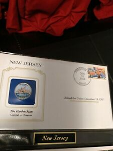 1999 NEW JERSEY STATE QUARTER COLORIZED W/ USPS STATE STAMP POSTMARKED