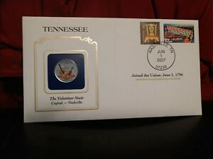2002 TENNESSEE STATE QUARTER COLORIZED W/ USPS STATE STAMP