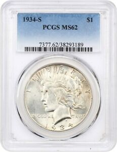 1934 S $1 PCGS MS62   KEY DATE FROM SAN FRANCISCO   PEACE SILVER DOLLAR