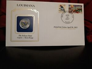 2002 LOUISIANA STATE QUARTER COLORIZED W/ USPS STATE STAMP. GREAT OFFICE GIFT