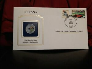 2002 INDIANA STATE QUARTER COLORIZED W/ USPS STATE STAMP. GREAT OFFICE/WORK GIFT