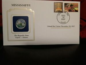 2002 MISSISSIPPI STATE QUARTER COLORIZED W/ USPS STATE STAMP. GREAT OFFICE GIFT.