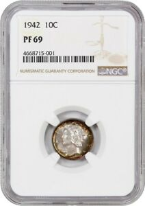 Click now to see the BUY IT NOW Price! 1942 10C NGC PR 69   MERCURY DIME   BEAUTIFUL RAINBOW TONING