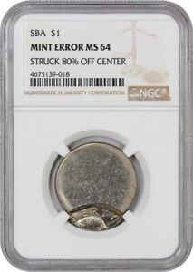 MINT ERROR: SBA $1 NGC MS64  STRUCK 80  OFF CENTER    SUSAN B. ANTHONY DOLLAR