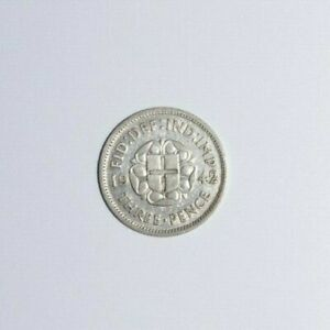1942 3 PENCE GREAT BRITAIN UK SILVER ONLY 4.1 MM MINTED HIGH VALUE COIN