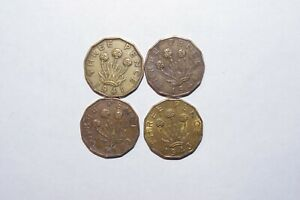1941 1942 1943 & 1944 THREE PENCE GREAT BRITAIN LOT 4 CONSECUTIVE VALUE COINS