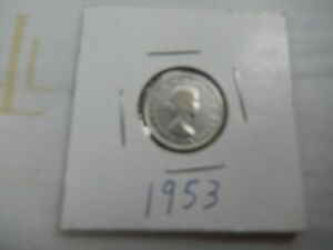 1953 CANADIAN SILVER DIME CIRCULATED   PERFECT FOR COIN BOOKS