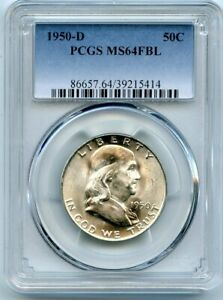 AVC  1950 D FRANKLIN HALF DOLLAR PCGS MS64 FBL 39215414