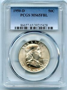AVC  1950 D FRANKLIN HALF DOLLAR PCGS MS65 FBL 39215428