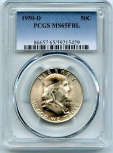 AVC  1950 D FRANKLIN HALF DOLLAR PCGS MS65 FBL 39215429