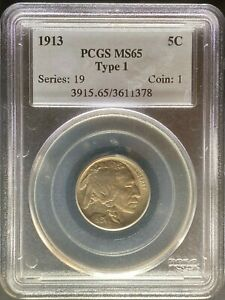 1913 BUFFALO NICKEL   PCGS MS65 TYPE 1