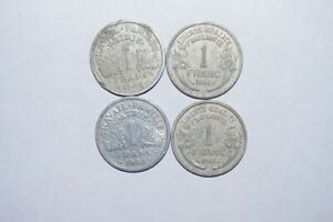 1944 1 FRANC FRANCE A LOT OF 4 VALUE COINS