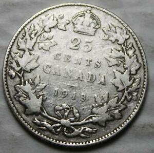 CANADA 1913 STERLING SILVER 25 CENTS OLD DATE KGV