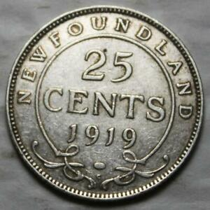 NEWFOUNDLAND 1919 SILVER 25 CENTS OLD DATE KGV