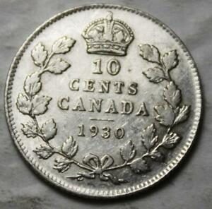 CANADA 1930 SILVER 10 CENTS OLD DATE KGV