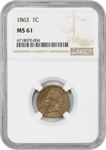 1863 1C NGC MS61   POPULAR COPPER NICKEL CENT   INDIAN CENT