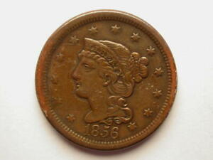 US 1856 LARGE CENT SOME GLUE REVERSE