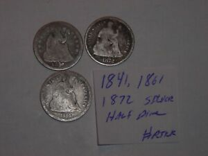 1841 1861 1872 SEATED LIBERTY SILVER HALF DIME 5 CENT LOT 3