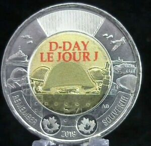2019 Canada Two Dollar Coin Toonie $2; D-Day; Le Jour J; Non-Coloured; UNC RCM
