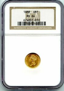 C12641  1888 GOLD DOLLAR NGC MS64   15 501 MINTED