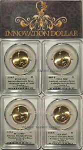 Click now to see the BUY IT NOW Price! 2018 P & D INNOVATION DOLLAR WASHINGTON 1ST PATENT 4 COIN SET PCGS MS67 A & B