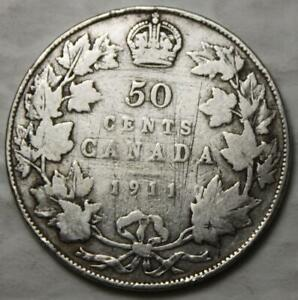 CANADA 1911 SILVER 50 CENTS ONE YEAR TYPE BETTER OLD DATE KGV