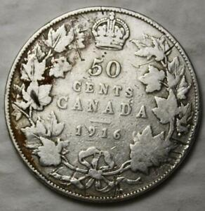 CANADA 1916 SILVER 50 CENTS OLD DATE KGV
