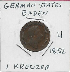 GERMAN STATES BADEN 1 KREUZER 1852 LOW MINTAGE LEOPOLD I DOT AFTER BADEN LEGEND: