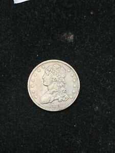 1838 US SILVER BUST QUARTER 25C VF DETAIL CLEANED  BOX 1