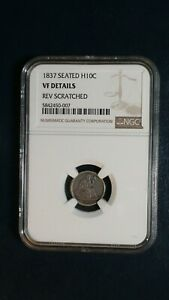 1837 SEATED HALF DIME NGC VF H10C COIN PRICED TO SELL FAST