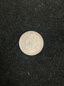 1861 SEATED LIBERTY QUARTER 25C NO MOTTO LUSTROUS XF/AU T9