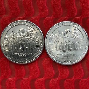 2016 WEST VIRGINIA HARPERS FERRY ATB P & D QUARTERS CIRCULATED  2 COINS
