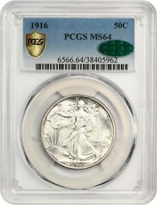 1916 50C PCGS/CAC MS64   FIRST YEAR WALKER ISSUE   WALKING LIBERTY HALF DOLLAR