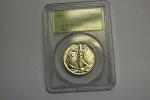 1935 P 50C WALKING LIBERTY HALF DOLLAR MS65 OLD GREEN HOLDER GREAT MINT LUSTER