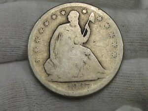 BETTER DATE 1867 S SEATED LIBERTY HALF DOLLAR.  36