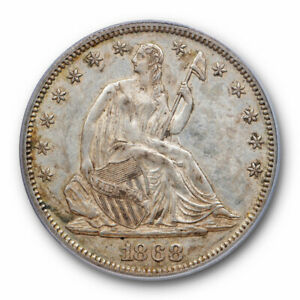 1868 50C SEATED LIBERTY HALF DOLLAR PCGS AU 50 ABOUT UNCIRCULATED BETTER DATE