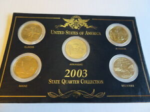 QUARTERS   2003 US STATE QUARTER SET   5 GOLD PLATED UNCIRCULATED QUARTERS