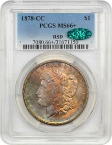 Click now to see the BUY IT NOW Price! 1878 CC $1 PCGS/CAC MS66  EX: RSD   BEAUTIFUL TONING   MORGAN SILVER DOLLAR