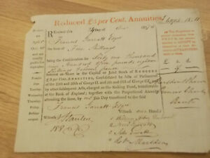 1817 REDUCED 3 PER CENT ANNUITIES CERTIFICATE