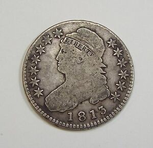 1813 CAPPED BUST/LETTERED EDGE HALF DOLLAR FINE SILVER 50C