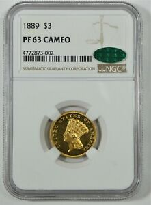 1889 $3 THREE DOLLAR GOLD COIN  NGC CERTIFIED PROOF 63 CAMEO WITH CAC STICKER