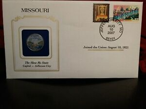 2003 MISSOURI STATE QUARTER COLORIZED W/ USPS STATE STAMP GREAT OFFICE/WORK GIFT