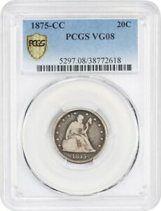 1875 CC 20C PCGS VG 08    CARSON CITY ISSUE   20 CENT PIECE