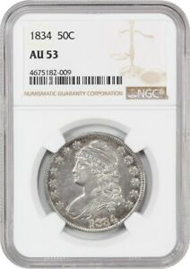1834 50C NGC AU53  LARGE DATE LARGE LETTER  NICE TYPE COIN   BUST HALF DOLLAR