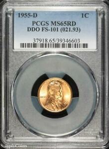 1955 D DDO FS 101 LINCOLN WHEAT PENNY CENT   PCGS MS65 RD RED   P3 6603