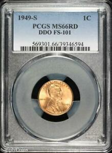 1949 S DDO FS 101 LINCOLN WHEAT PENNY CENT   PCGS MS66 RD RED   P3 6594