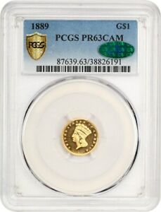 1889 G$1 PCGS/CAC PR 63 CAM   BEAUTIFUL CAMEO PROOF   1 GOLD COIN