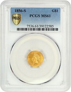 1856 S G$1 PCGS MS61  TYPE 2   S MINT GOLD DOLLAR   1 GOLD COIN