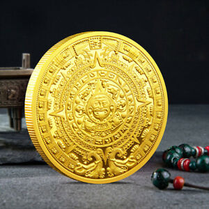 1PC COMMEMORATIVE COIN COLLECTION GOLD PLATED MAYAN AZTEC WITH PLASTIC BOX GIFT