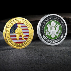 COLLECTIBLE US MILITARY ARMY VETERAN PROUDLY SERVED CHALLENGE COMMEMORATIVE COIN